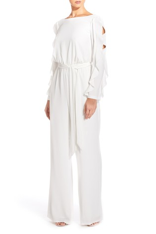 Buy Adrianna Papell White Fancy Crepe Ruffled Jumpsuit From Next Usa