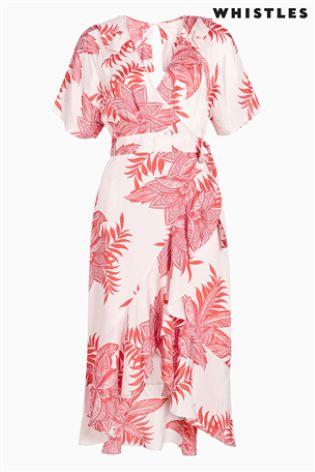 5333485407 Buy Whistles Palmyra Print Abigail Frill Wrap Dress from Next Ireland