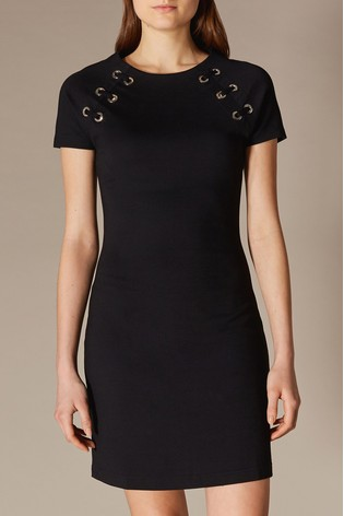 4e211bd4dbc Buy Karen Millen Black Eyelet Detail Jersey Dress from the Next UK ...