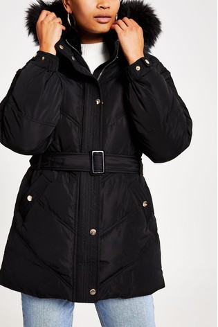 in stock free shipping new york River Island Black Belted Padded Coat