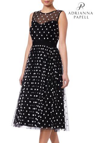 1d40d15eb52 Buy Adrianna Papell Black Dot Tea Length Dress from Next Ireland