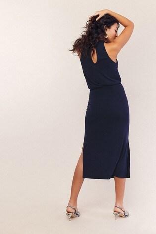 f558cc73b92d Buy Oasis Blue Halter Cupro Midi Dress from the Next UK online shop