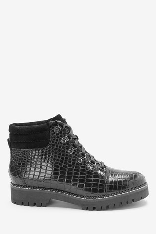 c0aee2d4b04 Black Croc Effect Hiker Style Lace-Up Boots