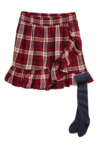 0b4a2a27b Buy Check Frill Skirt With Tights (3-16yrs) from Next Ireland