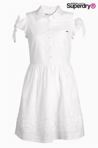 fd2369e31d55b Buy Superdry White Cold Shoulder Tie Sleeve Shirt Dress from Next ...