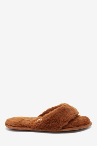 05cb943ee617ed Buy Ginger Faux Fur Toe Thong Slippers from the Next UK online shop