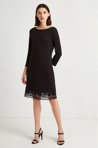 745f04c6674 Buy French Connection Black Jersey Lace Trim Dress from Next Cyprus