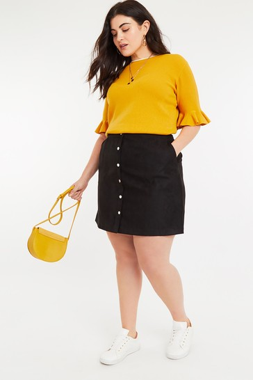 e14088322 Buy Oasis Black Curve Faux Suede Mini Skirt from the Next UK online shop