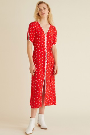 2199a51cc4c Buy Oliver Bonas Red Ditsy Print Midi Dress from the Next UK online shop