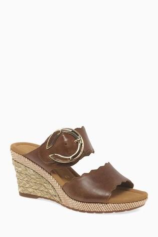 buy online 3e524 8024b Gabor Brown Leather Sandal