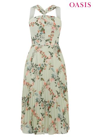 f4fc112cbe01 Buy Oasis Green Fitzwilliam Twist Neck Pleated Midi Dress from Next ...
