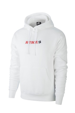 online store 249e2 dc571 Nike White Just Do It Pullover Hoody