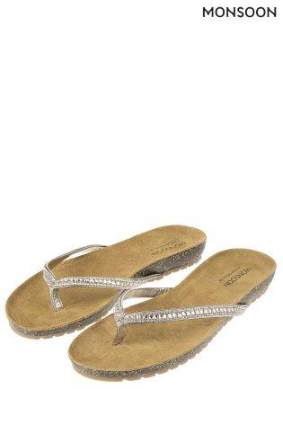 f989b3a8734499 Buy Monsoon Silver Demi Diamanté Footbed Sandal from Next Ireland