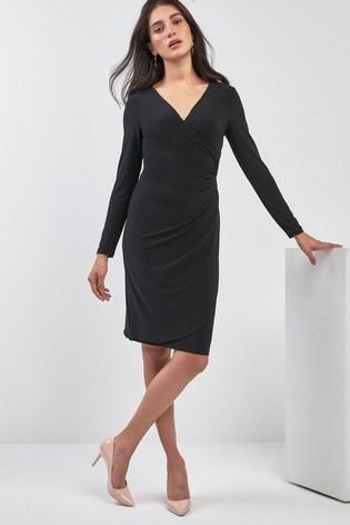 Buy Lauren By Ralph Lauren Black Long Sleeve Wrap Dress From The
