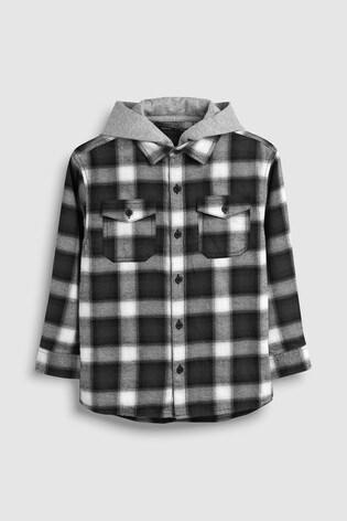 11944db10004 Čierno-biela - Károvaná košeľa s kapucňou a dlhým rukávom (3 – 16 rok ...