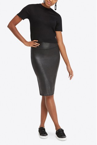 ca6c2166a1d7f Buy SPANX® Black Faux Leather Pencil Skirt from the Next UK online shop