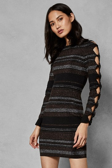 6a7684c6c4d416 Buy Ted Baker Black Metallic Stripe Bodycon Dress from the Next UK ...