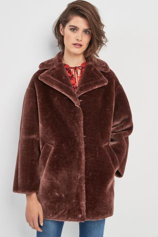 fcb12dac3 Whitsles Chocolate Faux Fur Coat