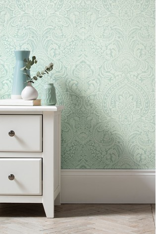 Paste The Wall Duck Egg Damask Wallpaper