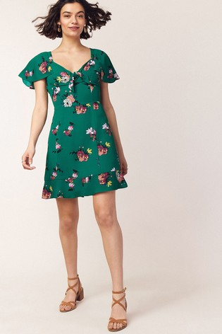 09da0630eef3 Buy Oasis Green Floral Tie Skater Dress from the Next UK online shop