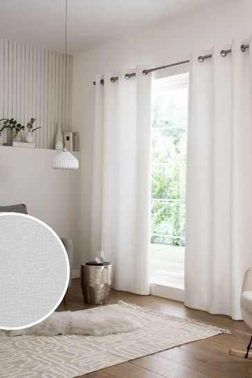 Heavyweight Chenille Eyelet Lined, Lined White Curtains
