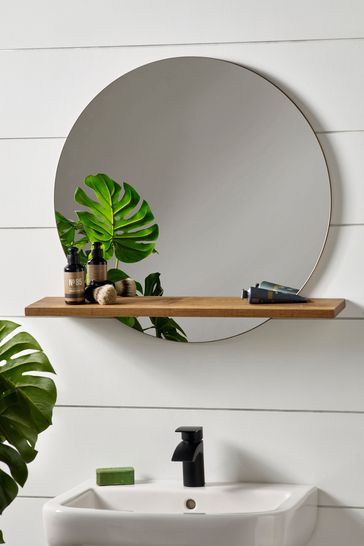 Bronx Mirror With Shelf From The, Round Mirror With A Shelf