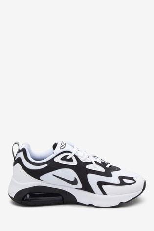 Nike White/Black Air Max 200 Trainers