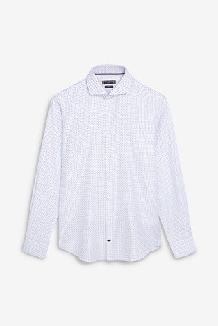63d12fc3af7e8 Buy Tommy Hilfiger White Tailored Printed Wide Collar Shirt from ...