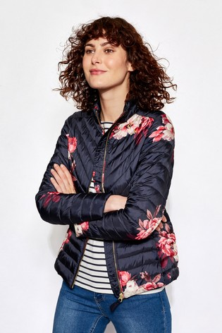 Buy Joules Navy Bircham Bloom Printed Chevron Quilted Jacket From