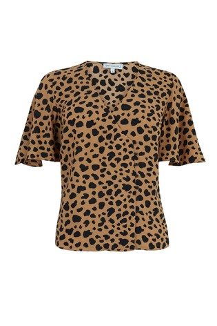 a3cd6466b77a Buy Warehouse Tan Animal Print Side Button Top from the Next UK ...