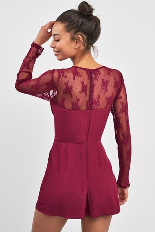 fd946883165 Buy Abercrombie   Fitch Red Lace Long Sleeve Playsuit from the Next ...