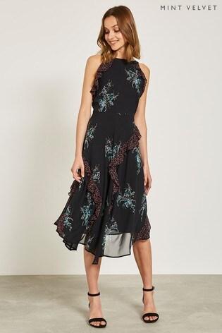 Buy Mint Velvet Black Jane Print Ruffle Midi Dress From Next Ireland
