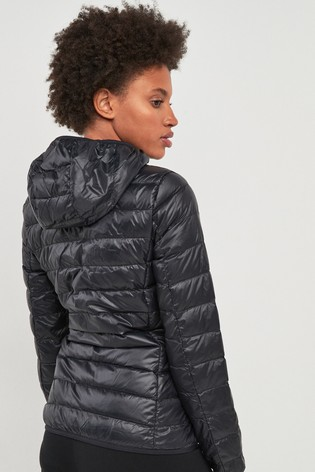 d59dbb985f3f Buy Emporio Armani EA7 Black Packaway Down Padded Hooded Jacket from ...