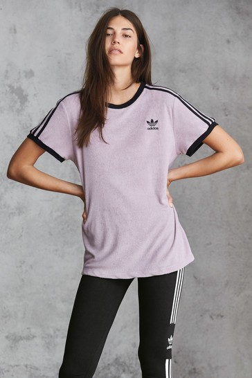 adidas Originals Lilac Soft Vision 3 Stripe Tee