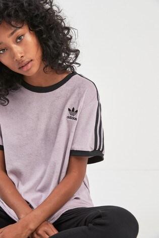 713fa3e3595 Buy adidas Originals Lilac Soft Vision 3 Stripe Tee from the Next UK ...