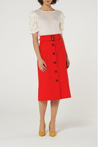 b762002f52f Buy L.K.Bennett Red Oda Cotton Denim Skirt With Button Front from ...