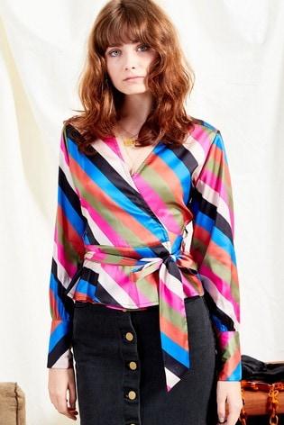 8f7759abe4 Neon Rose Pink Sienna Stripe Satin Wrap Top With Tie Belt
