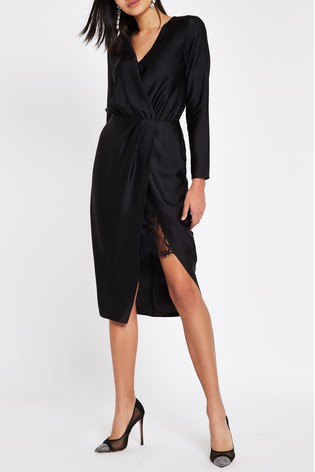 96f33e95332 Buy River Island Wrap Long Sleeve Satin Dress from Next Ireland