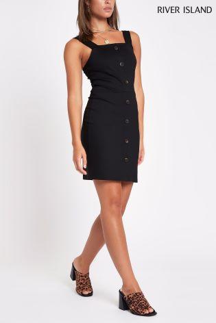 57299c172 Buy River Island Black Jersey Button Bodycon Dress from Next Ireland