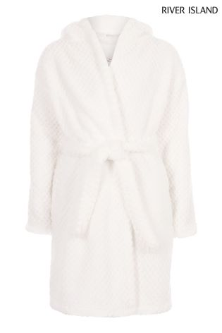 Buy River Island White Sequin Logo Detail Dressing Gown from the ...
