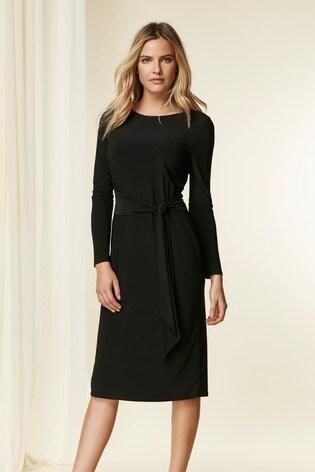 Buy Wallis Black Tie Front Midi Dress From The Next Uk Online Shop