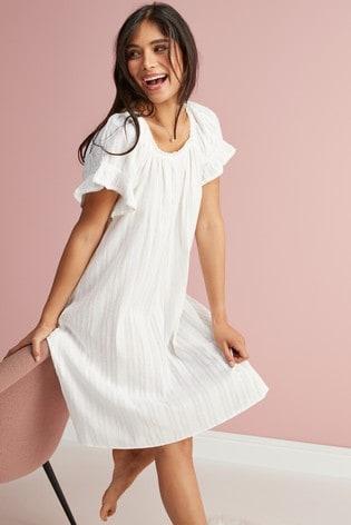 902779d90b Buy White Square Neck Ruffle Cotton Nightdress from Next Ireland