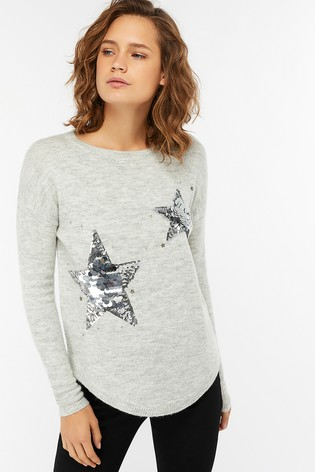 c87ccd7bf3ac Buy Monsoon Grey Stephanie Sequin Star Jumper from Next Ireland