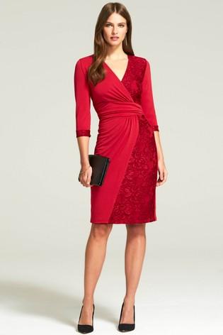 Hotsquash Red Lace Detail Jersey Wrap Dress