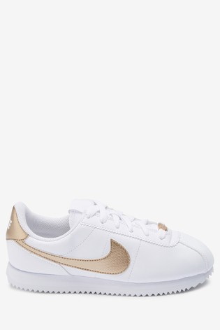 size 40 f7287 ab2bc Nike White/Gold Cortez Youth