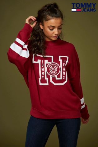 1953bc7c Buy Tommy Jeans Red Oversized College Sweatshirt from Next Ireland
