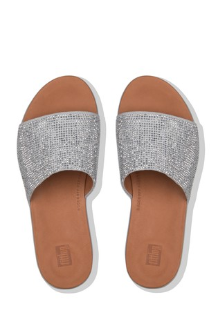 7f593ff61 Buy FitFlop™ Silver Steffy Slide Crystal Pave Sandal from the Next ...