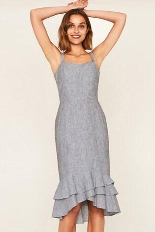 Buy Oasis Grey Ruffle Hem Linen Dress From The Next Uk Online Shop