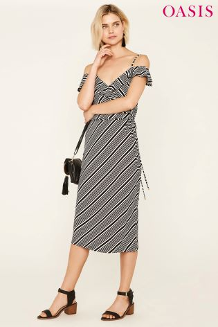 14ab748a86ea Buy Oasis Black Stripe Ruffle Wrap Midi Dress from Next Ireland