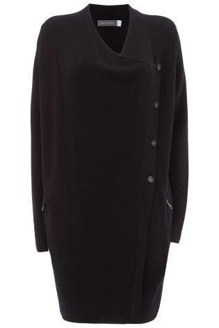 2c1b26e4039b ... Čierny dlhý sveter na gombíky s ozdobným prešívaním Mint Velvet Ottoman  ...